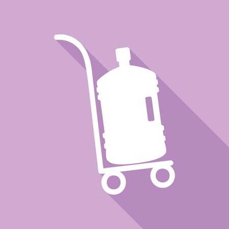 Big Plastic bottle of water on track. White Icon with long shadow at purple background.