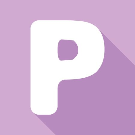 Letter P sign design template element. White Icon with long shadow at purple background.