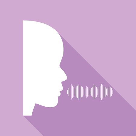 People speaking or singing sign. White Icon with long shadow at purple background.
