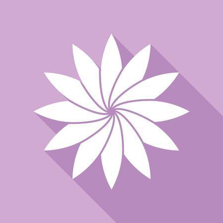 Flower sign. White Icon with long shadow at purple background.