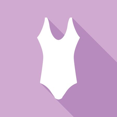 Woman's swimsuit sign. White Icon with long shadow at purple background.