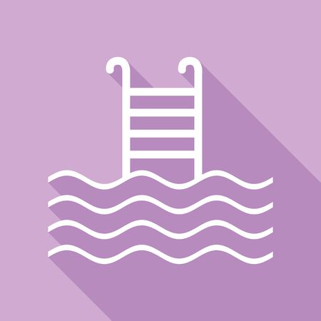 Swimming Pool sign. White Icon with long shadow at purple background.