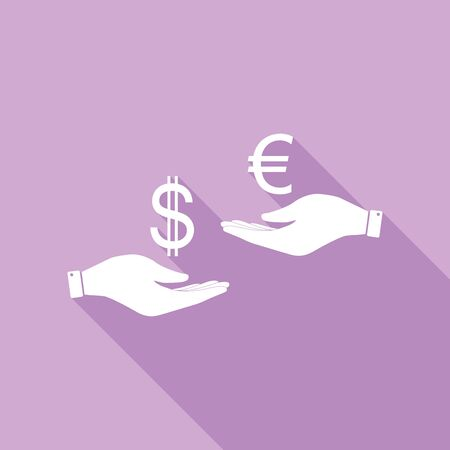 Currency exchange from hand to hand. Dollar adn Euro. White Icon with long shadow at purple background.