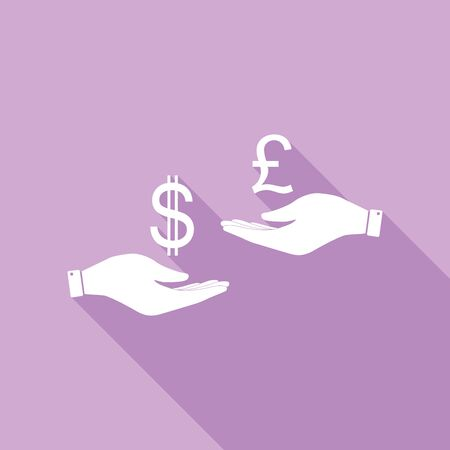 Currency exchange from hand to hand. Dollar and Pound. White Icon with long shadow at purple background. Çizim