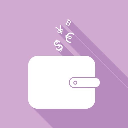 Wallet sign with currency symbols. White Icon with long shadow at purple background.