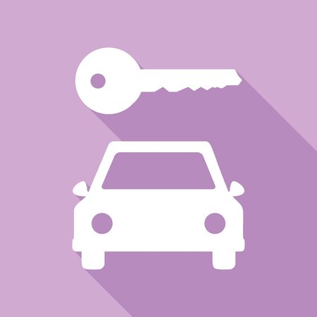 Car key simplistic sign. White Icon with long shadow at purple background.