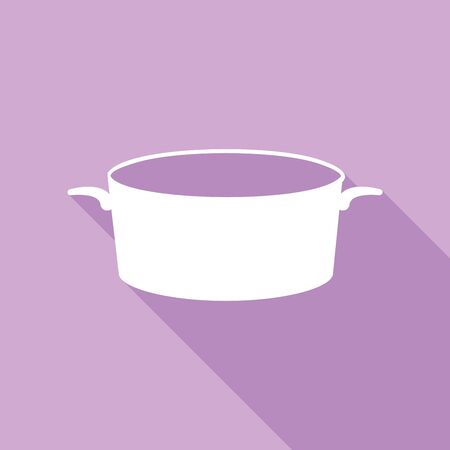 Pan sign. White Icon with long shadow at purple background.