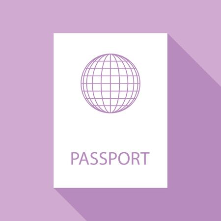 Passport sign illustration. White Icon with long shadow at purple background.