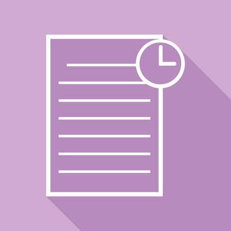Check mark sign illustration. White Icon with long shadow at purple background. Иллюстрация