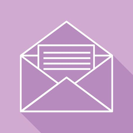 Letter in an envelope sign illustration. White Icon with long shadow at purple background.