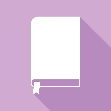 Book sign. White Icon with long shadow at purple background.