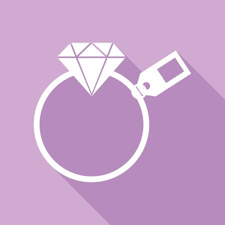 Diamond sign with tag. White Icon with long shadow at purple background.