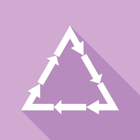 Plastic recycling symbol PVC 3 , Plastic recycling code PVC 3. White Icon with long shadow at purple background.