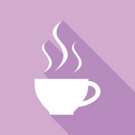 Cup sign with three small streams of smoke. White Icon with long shadow at purple background. Иллюстрация