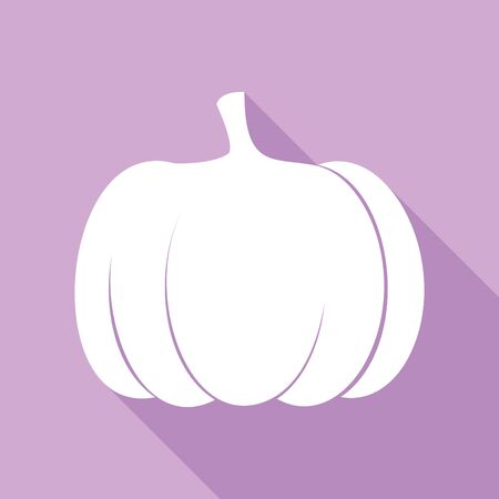 Pumpkin sign. White Icon with long shadow at purple background.