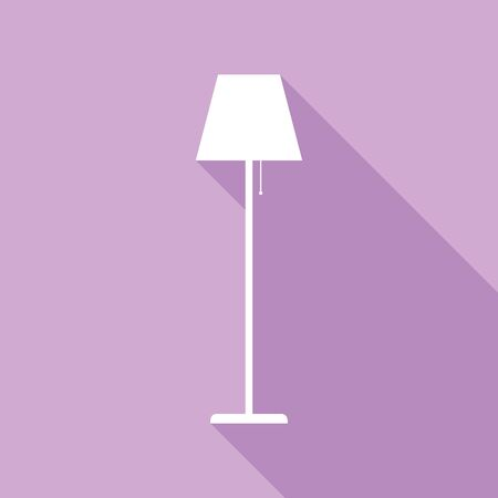 Floor lamp sign illustration. White Icon with long shadow at purple background. Banque d'images - 142767372