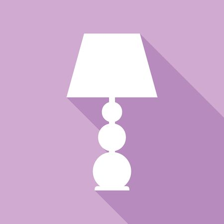 Lamp sign illustration. White Icon with long shadow at purple background. Illustration