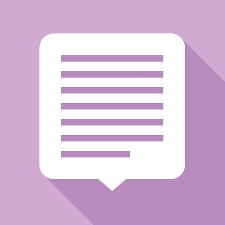 Text message sign illustration. White Icon with long shadow at purple background. Çizim