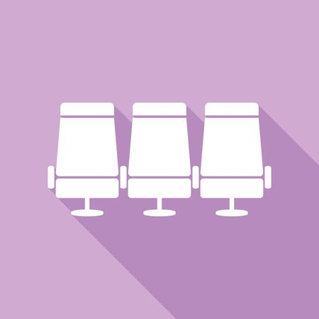 Airplane Transport seats sign illustration. White Icon with long shadow at purple background. 向量圖像
