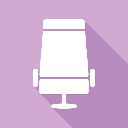 Airplane seat sign illustration. White Icon with long shadow at purple background.