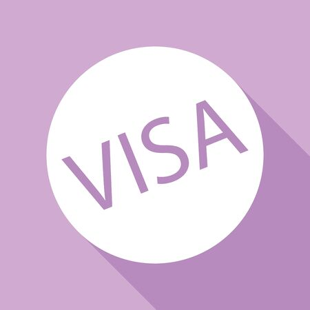Visa card sign illustration. White Icon with long shadow at purple background. Vectores
