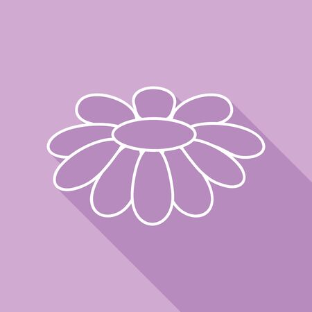 Fower Chamomile sign illustration. White Icon with long shadow at purple background.