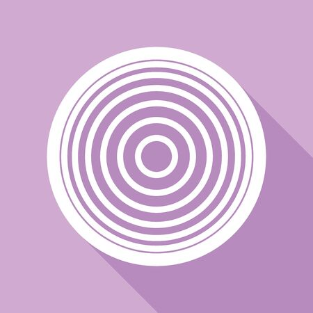 Meridians from top view. White Icon with long shadow at purple background.