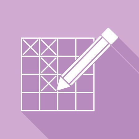 Crossword with pencil sign. White Icon with long shadow at purple background. Çizim