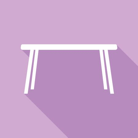 Table sign. White Icon with long shadow at purple background.