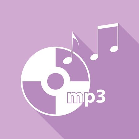 Compact disk with music notes. mp3 sign. White Icon with long shadow at purple background. 일러스트