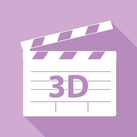 3D film sign. White Icon with long shadow at purple background.
