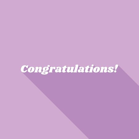 Congratulations slogan. White Icon with long shadow at purple background. 版權商用圖片 - 142767650