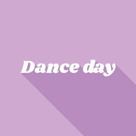 International Dance Day. White Icon with long shadow at purple background.