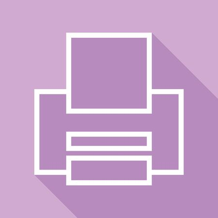 Printer sign. White Icon with long shadow at purple background.  イラスト・ベクター素材