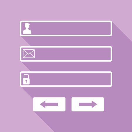 Web browser window with login page sign. White Icon with long shadow at purple background.