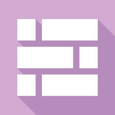 Brick wall sign. White Icon with long shadow at purple background. Ilustração