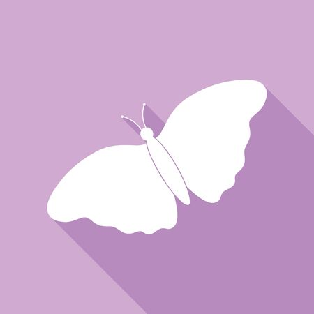 Butterfly sign. White Icon with long shadow at purple background.