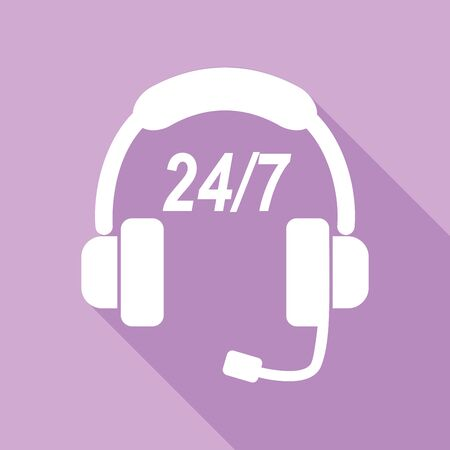Support 24 hours sign. White Icon with long shadow at purple background.