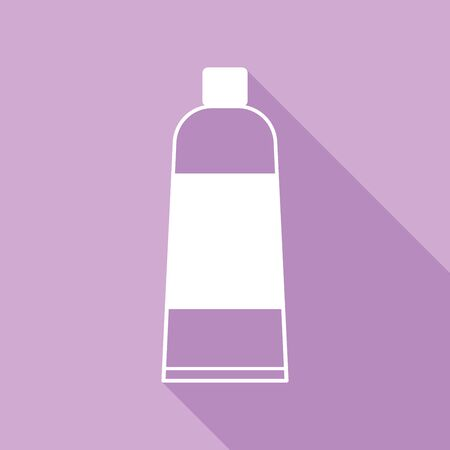 Tube container sign. White Icon with long shadow at purple background.