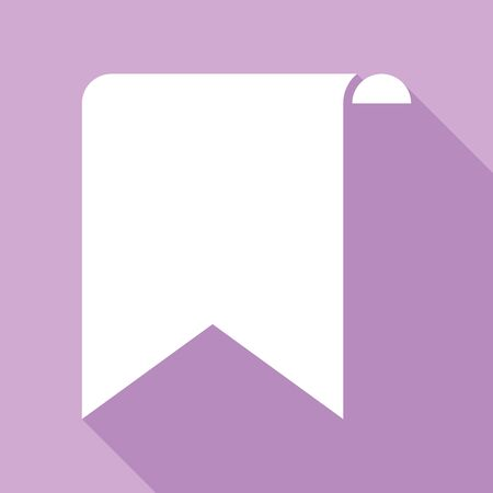 Bookmark sign. White Icon with long shadow at purple background. Ilustracja