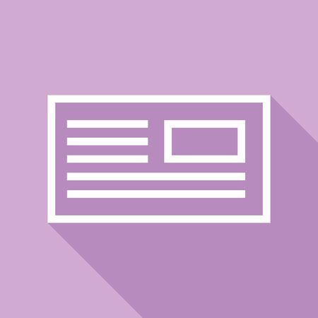 E-mail, envelope, letter sign. White Icon with long shadow at purple background.