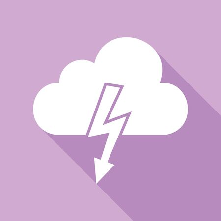 Storm icon. White Icon with long shadow at purple background. 向量圖像