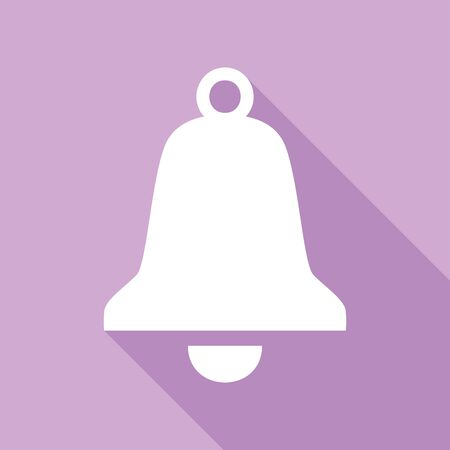 Bell Alarm sign. White Icon with long shadow at purple background.