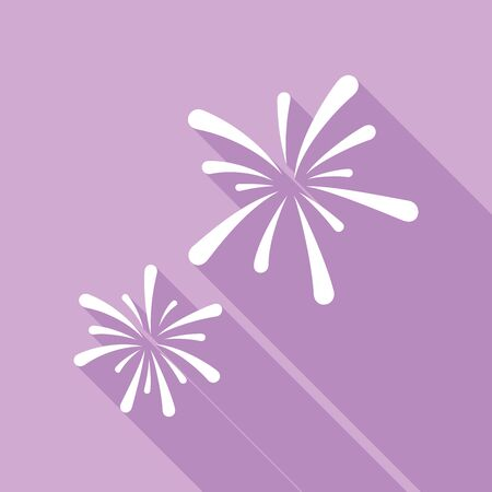 Firework sign. White Icon with long shadow at purple background.