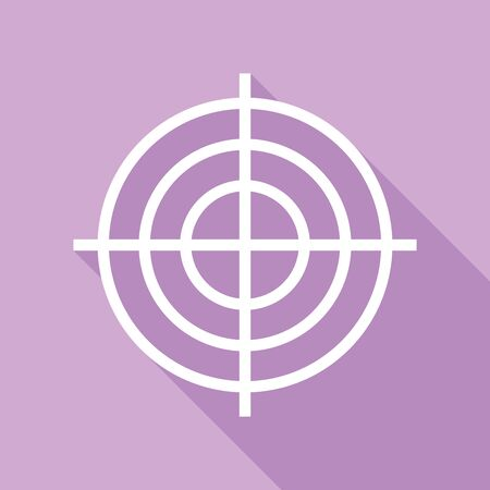 Target aiming sign. White Icon with long shadow at purple background.
