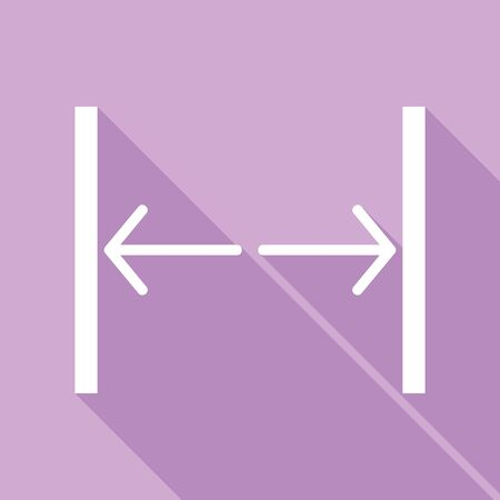 Sliding door, automatic door sign. White Icon with long shadow at purple background. Ilustração Vetorial