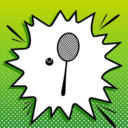 Tennis racquet with ball sign. Black Icon on white popart Splash at green background with white spots.