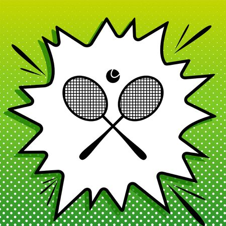 Two tennis racket with ball sign. Black Icon on white popart Splash at green background with white spots.