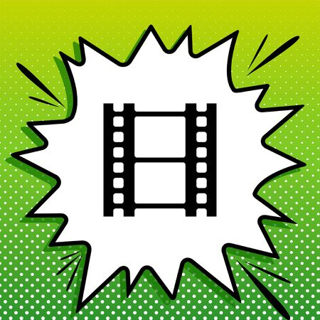 Reel of film sign. Black Icon on white popart Splash at green background with white spots. Vectores