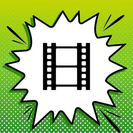 Reel of film sign. Black Icon on white popart Splash at green background with white spots. Illustration